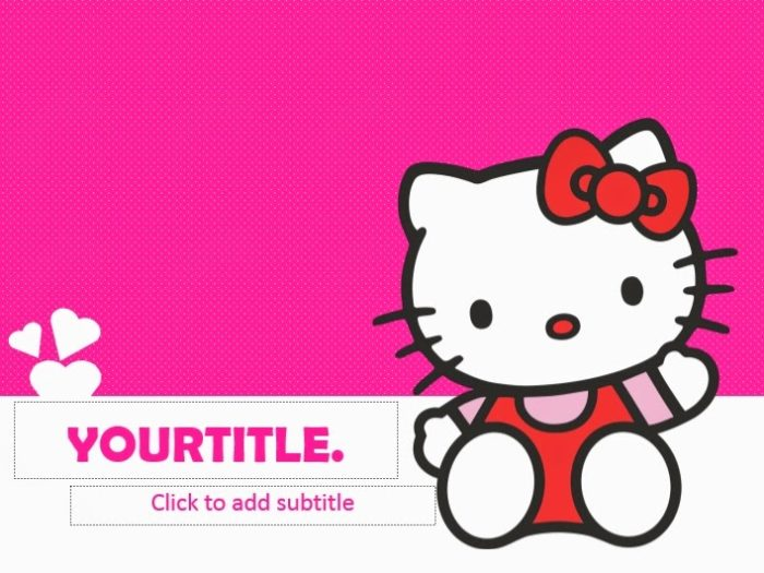 Hello kitty powerpoint templates 4 presentation of the slide and its description the further explanation about the title of the presentation in this slide there is full body of the hello kitty voltagebd Choice Image